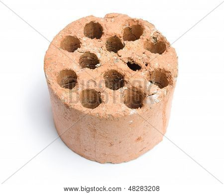 Used Coal Briquette On A White Background