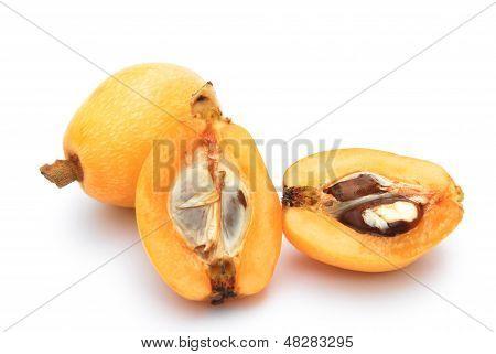 Fresh Loquat Medlar Fruit On White Background