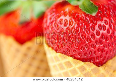 Strawberry In A Waffle Cone Isolated On White