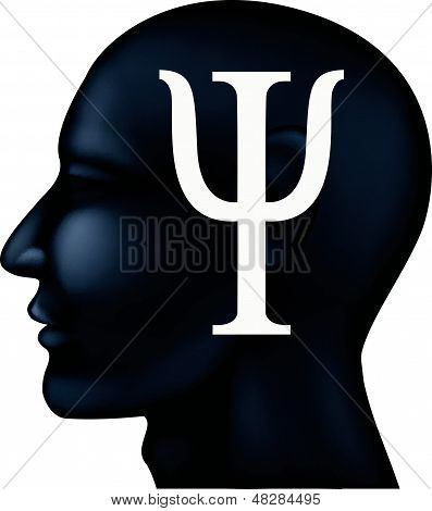 Psychiatry symbol on people silhouette