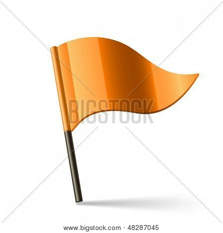 Vector illustration of orange triangular flag