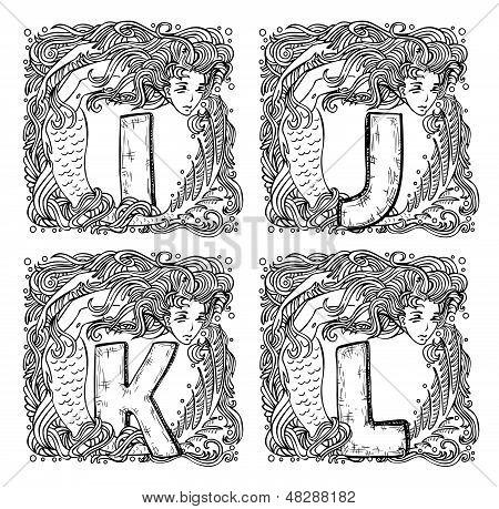 Retro Mermaid Alphabet