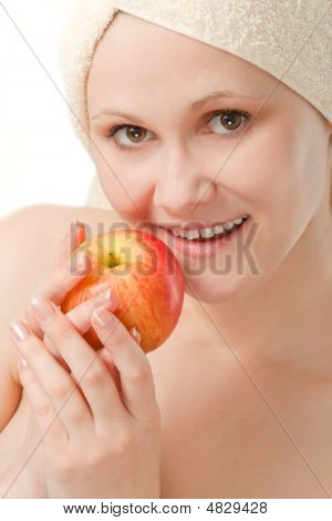 Closeup Woman Portrait With Apple