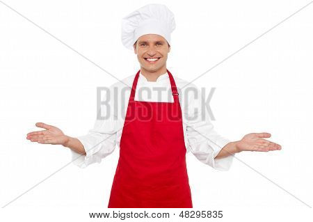 Joyful Chef Welcoming His Guests