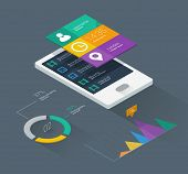 mobile phone infographics in flat color design