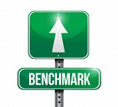 image of benchmarking  - benchmark road sign illustration design over white - JPG