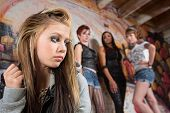 stock photo of humiliation  - Mean group of people looking over at insecure teen - JPG