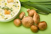 stock photo of crimini mushroom  - Cream of Mushroom and Leek soup presented with Mushrooms and Leeks - JPG