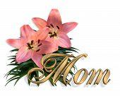 Постер, плакат: Матери день розовые лилии цветочные карты