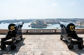stock photo of emplacements  - Two cannons in saluting battery on Valletta castle Malta - JPG