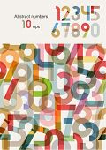 Vector set - abstract numbers ( color pieces of paper )