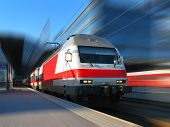 foto of high-speed train  - Modern high speed train with motion blur - JPG