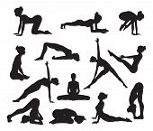 image of pranayama  - Silhouettes of a woman doing yoga exercises - JPG