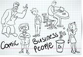 stock photo of bitchy  - set of sketches of comical cartoons businessmen - JPG