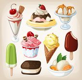 image of junk  - Set of colorful tasty isolated ice cream - JPG