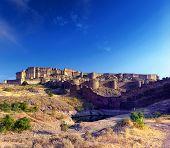 Mehrangarh fort in India, Rajasthan, Jodhpur. Indian palace architecture landmark  poster