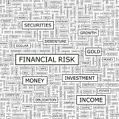FINANCIAL RISK. Background concept wordcloud illustration. Print concept word cloud. Graphic collage