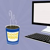 Illustration Of Coffee And Computer Monitor - Good Morning