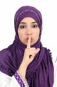 picture of hijabs  - Beautiful islamic woman wearing a hijab asking for silence isolated on a white background - JPG