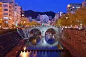 Постер, плакат: Нагасаки Япония на исторический мост Megane «Очки»
