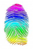 stock photo of lesbian  - Rainbow Finger Print - JPG