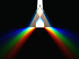 stock photo of prism  - schematic 3d render of a prism on black - JPG