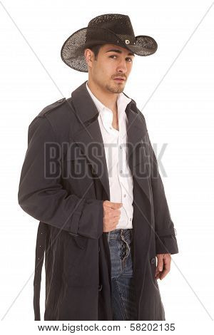 Cowboy In Coat Serious Look