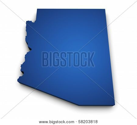 Map Of Arizona State 3D Shape