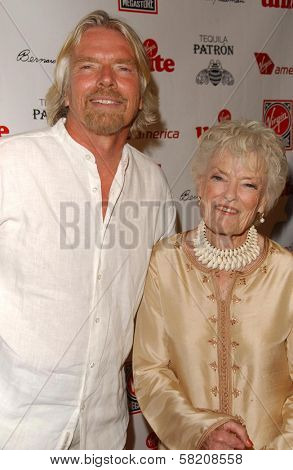 Richard Branson and Eve Branson at Rock The Kasbah presented by Virgin Unite. Roosevelt Hotel, Hollywood, CA. 07-02-07