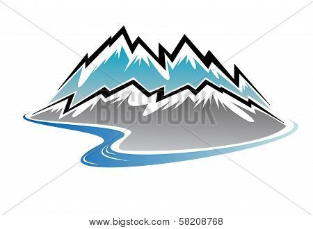 Mountains, peaks and river