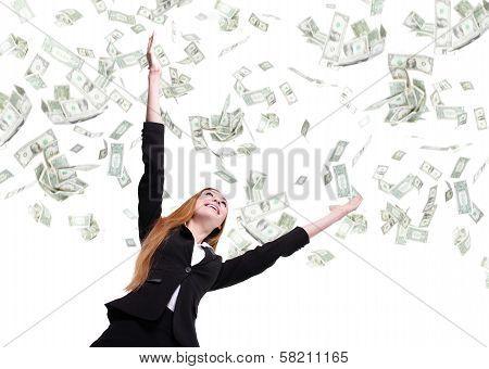 Business Woman Look Up Under Money Rain