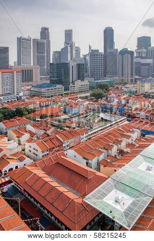 Singapore Chinatown With Modern Skyline
