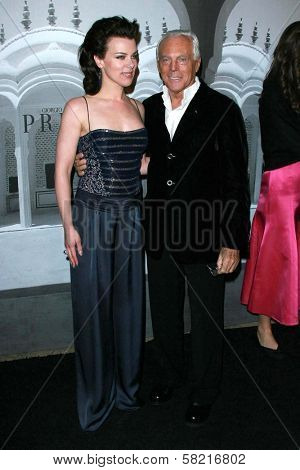 Debi Mazar and Giorgio Armani at the Giorgio Armani Prive Show to celebrate the Oscars. Green Acres, Los Angeles, CA. 02-24-07