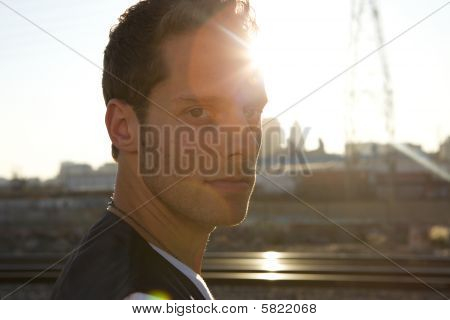 Attractive Young Man Backlit