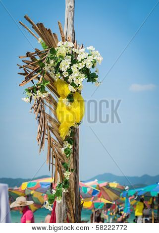 Flower Bouquet On Wooden Stake