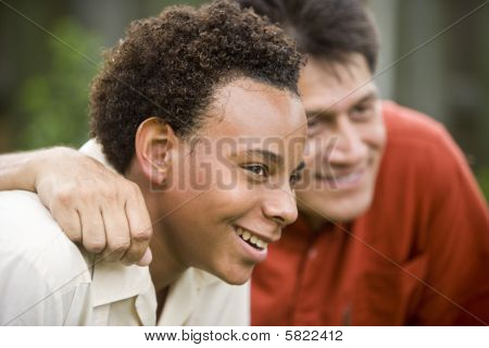 Teenage boy with father