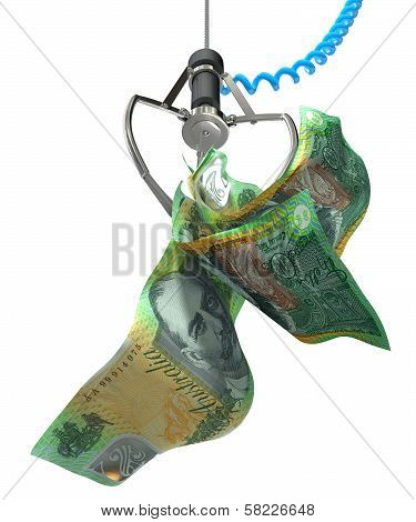 Australian Dollars In A Robotic Claw