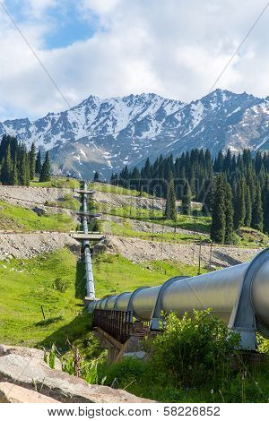 Pipeline On Road  Big Almaty Lake, Tien Shan Mountains In Almaty, Kazakhstan,asia
