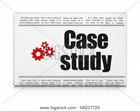Education concept: newspaper with Case Study and Gears