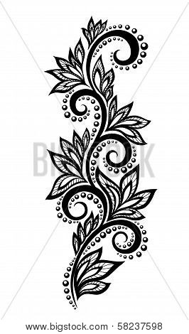 Isolated Floral Design Element. With The Effect Of Lace Eyelets.