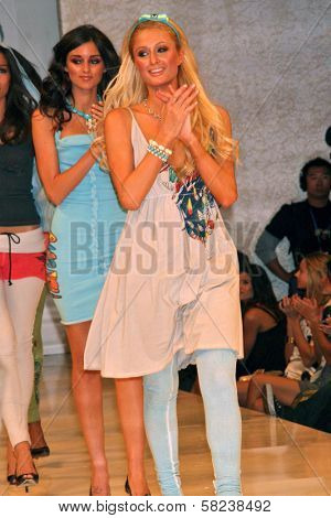 Caroline D'Amore and Paris Hilton inside at the 2B Free Fall 2007 Collection Fashion Show. Boulevard 3, Hollywood, CA. 03-19-07
