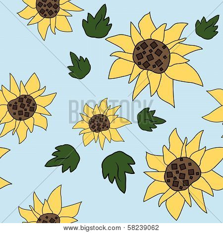 Sunflower seamless pattern