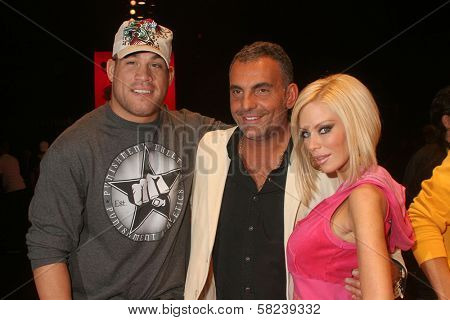 Tito Ortiz with Christian Audigier and Jenna Jameson at day two of the 2007 Mercedes-Benz Fashion Week Fall Collection. Smashbox Studios, Culver City, CA. 03-19-07