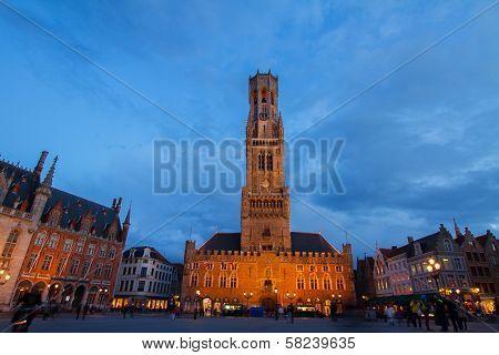 Belfry of Bruges at Grote Markt, Belgium