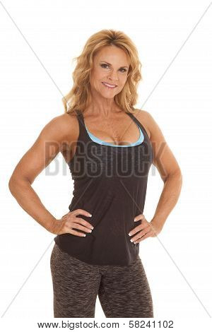 Mature Woman Fitness Hands Hips Smile