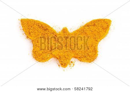 Heap Ground Curry (madras Curry) Isolated In Butterfly Shape On White Background.
