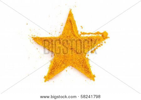 Heap Ground Curry (madras Curry) Isolated In Star Shape On White Background.