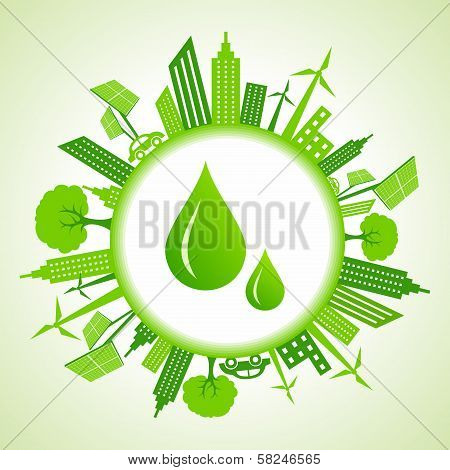 Eco cityscape around water drops
