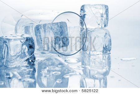 Ice Cubes And Glass