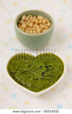 Pesto alla Genovese , Basil Sauce. Cedar nuts.